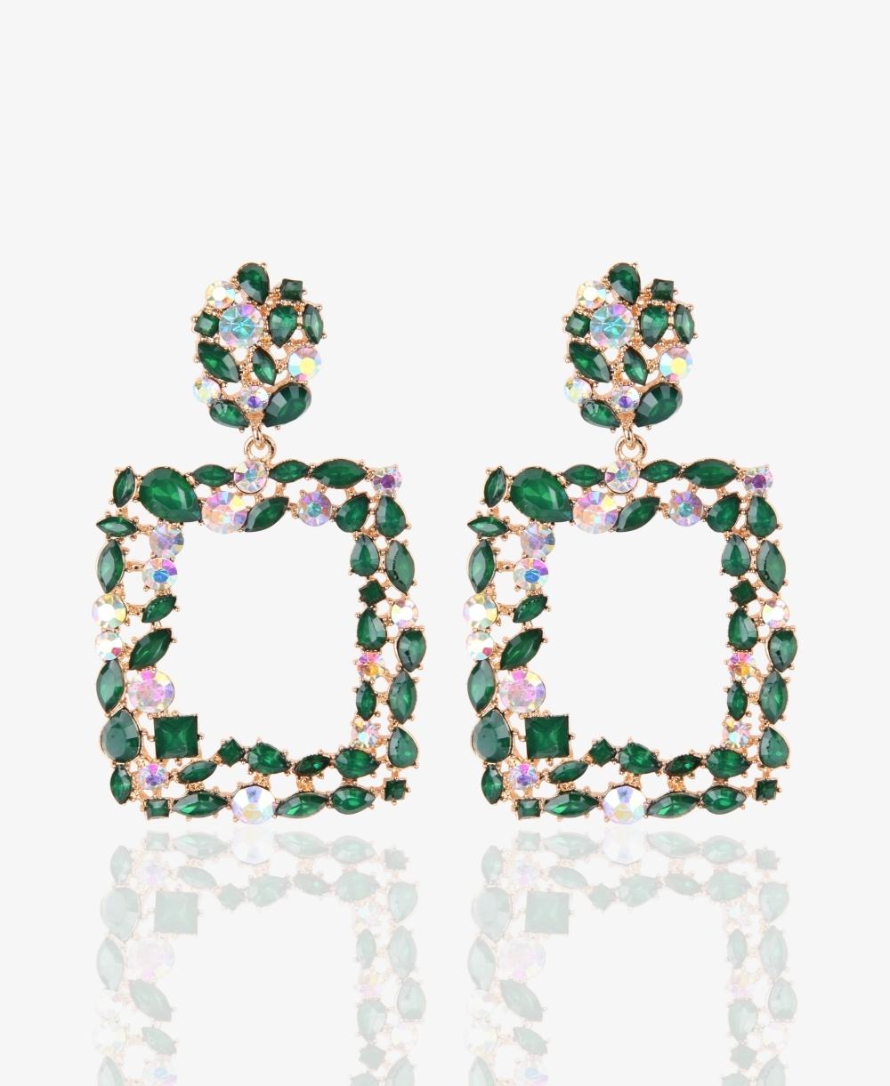 Crystal Rectangular Statement Earrings
