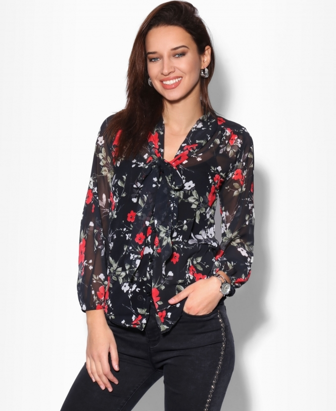 Floral Pussy Bow Chiffon Blouse