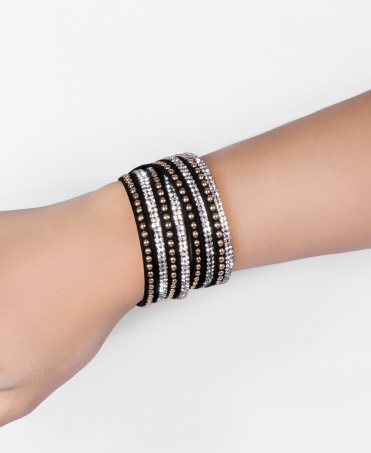 Gemmed & Beaded Wrap Bracelet