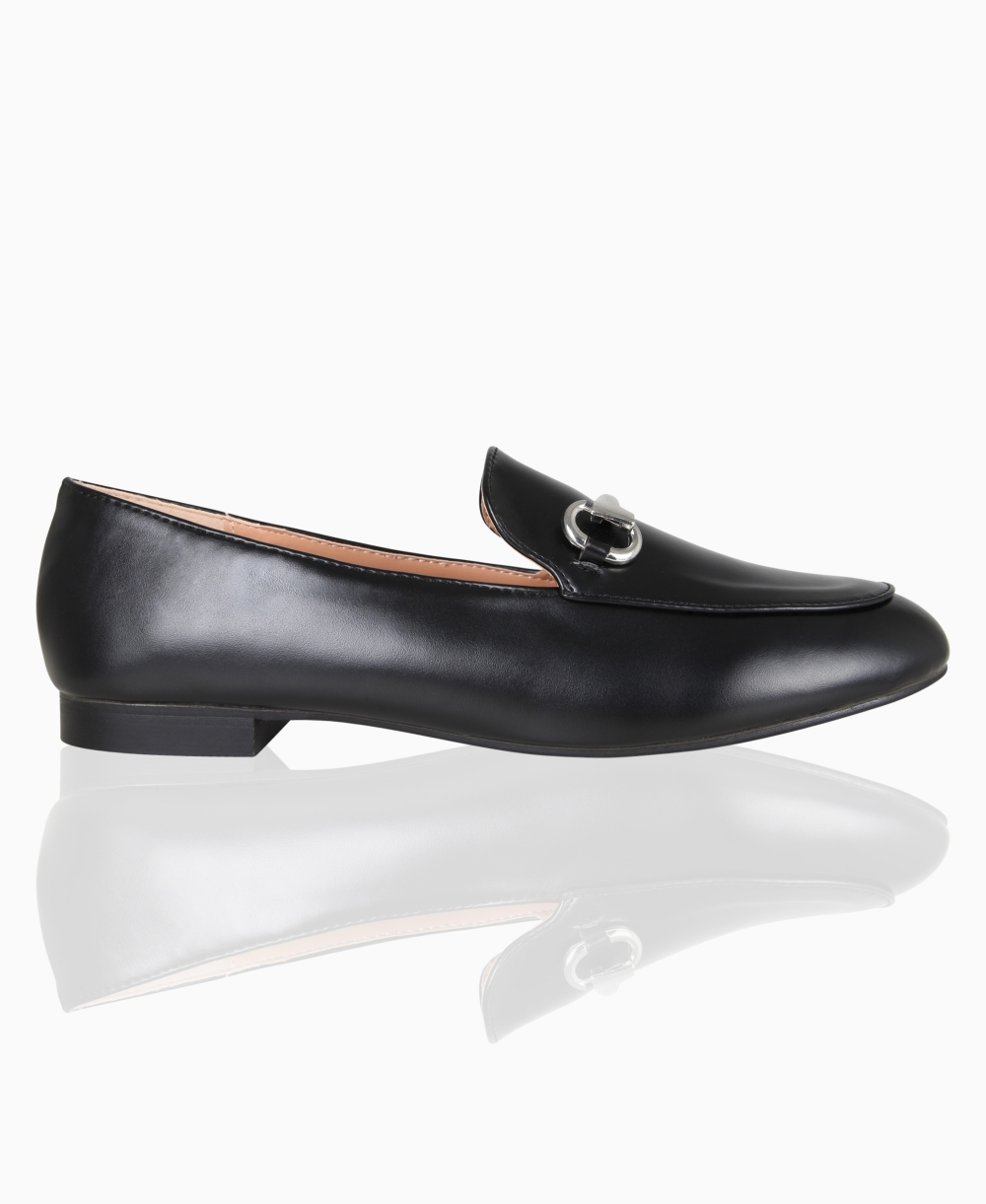 Loafers   Gold Buckle Low Heel Loafers