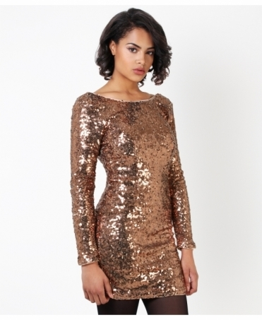 V-Back Sequin Bodycon Dress