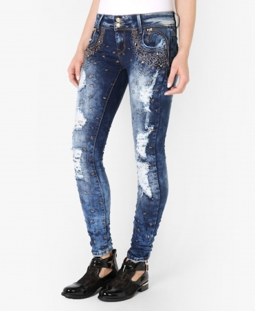 2 Button Bling Leg Skinny Jeans