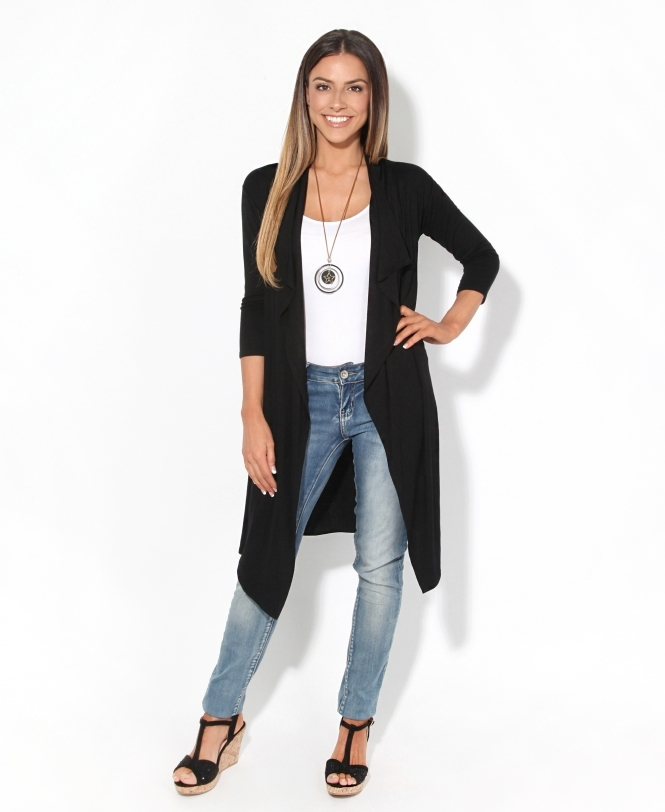 KRISP 3/4 Sleeve Long Waterfall Cardigan