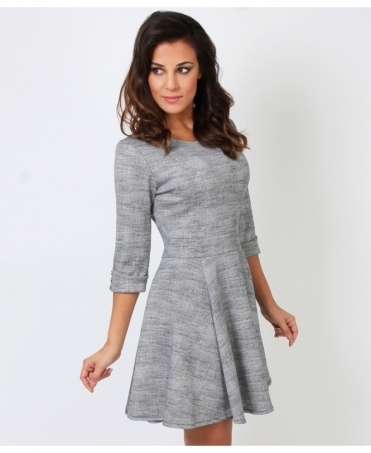 3/4 Sleeve Monochrome Skater Dress