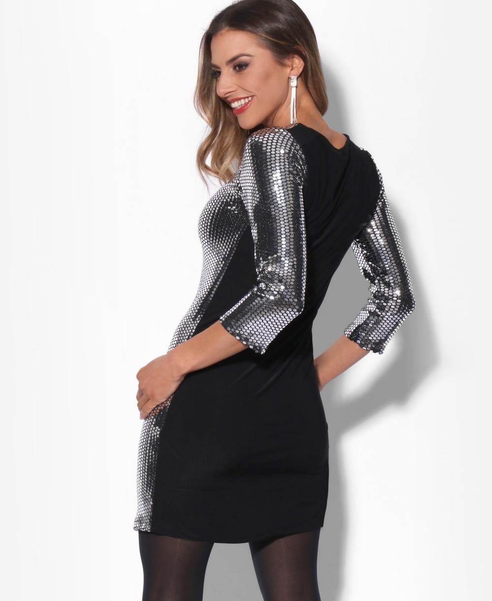 222c739407cd Sequin Dresses | 3/4 Sleeve Sequin Shift Dress | KRISP