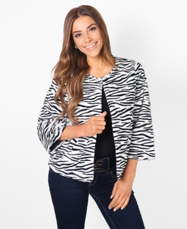 3/4 Sleeve Zebra Faux Fur Jacket