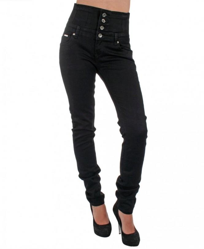 cdb5477cdbd5e KRISP 4 Button High Waist Black Denim Jeans - Womens from Krisp ...