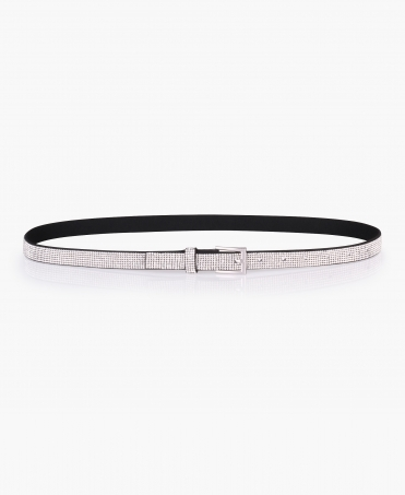 7 Row Diamante Thin Buckle Belt