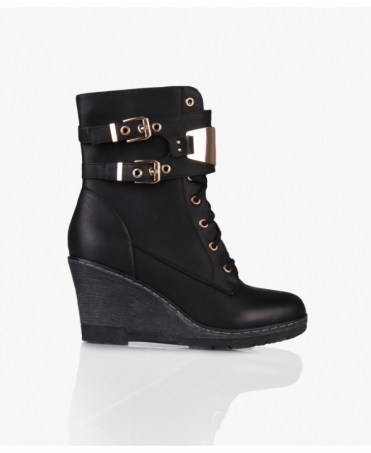 8 Eyelet Lace Up Wedge Boots