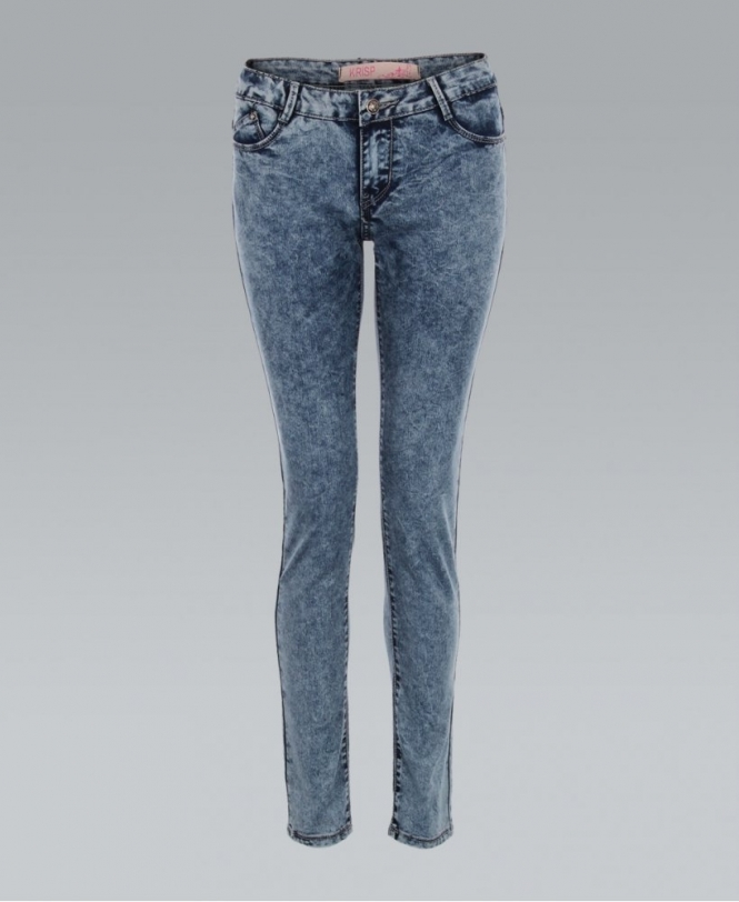 3a66c4121d KRISP Acid Wash Fitted Grey Blue Denim Skinny Jeans - Womens from ...