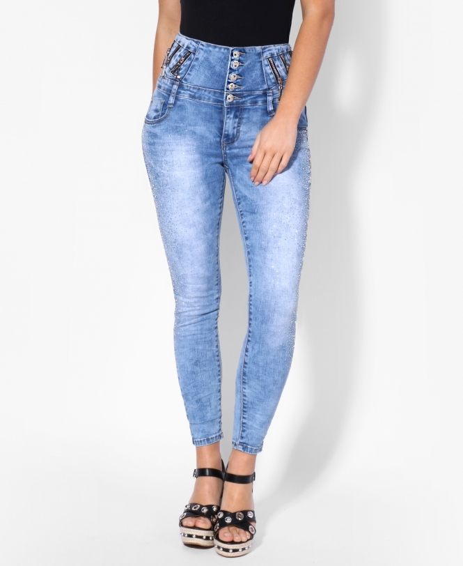 KRISP All Over Diamante High Waisted Jeans