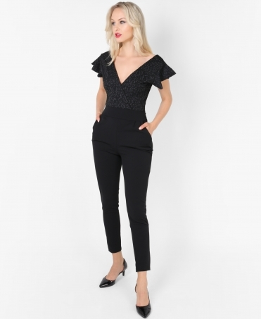 Animal Pattern Frill Sleeve Jumpsuit