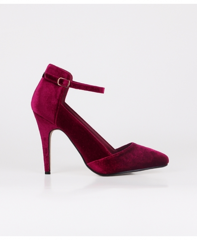 KRISP Ankle Strap Velvet Court Shoes