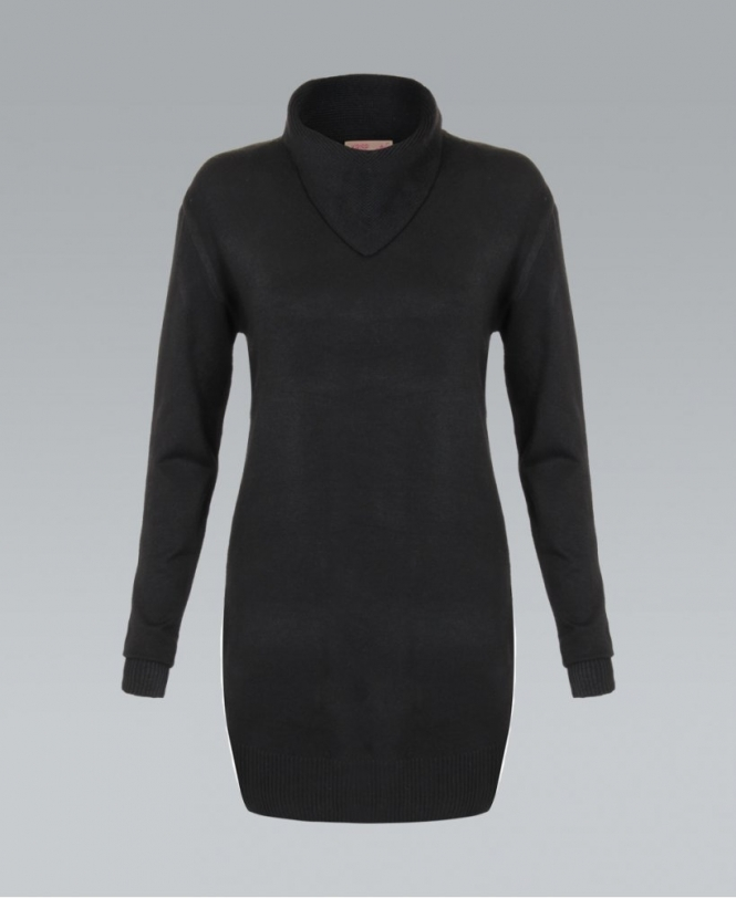 24160477a43 KRISP Asymmetric Cowl Neck Black Polo Jumper Dress - Womens from ...