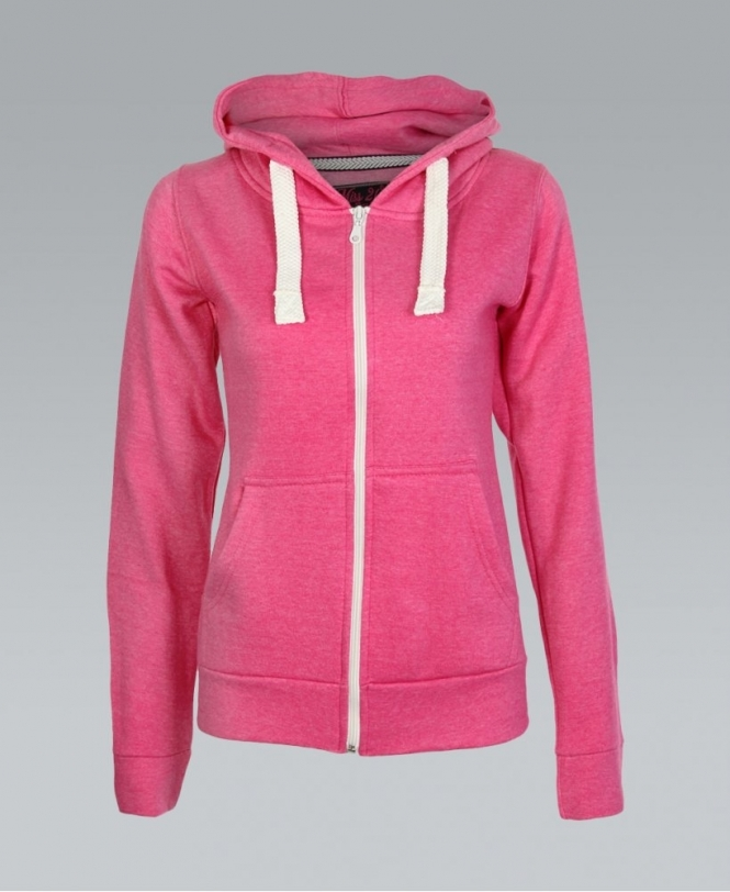 KRISP Basic Zip Front Jersey Pink Hoodie - Womens from Krisp Clothing UK 62fdf73a86