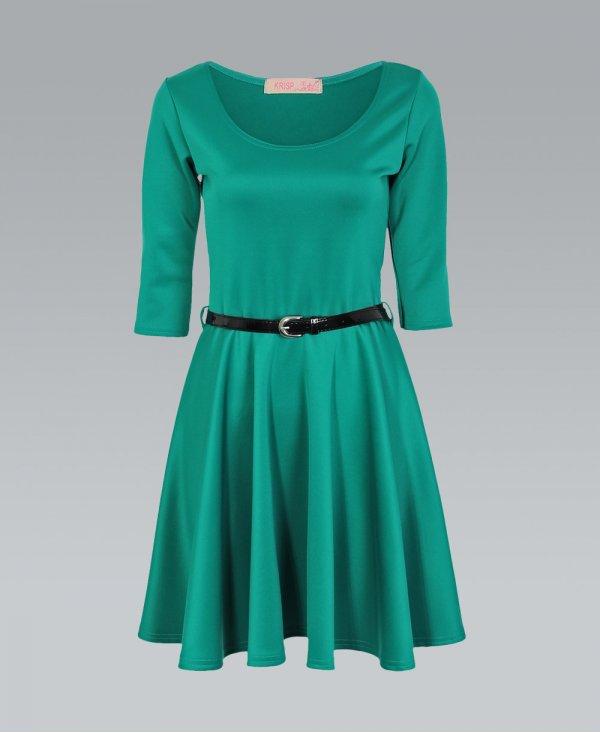 c69ff60fff Krisp BASICS 3 4 Length Sleeve Belted Jade Green Skater Dress ...