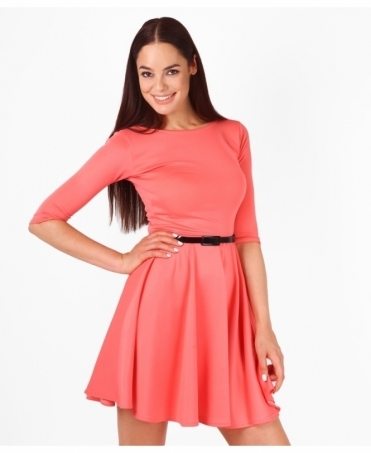 3/4 Length Sleeve Belted Skater Dress
