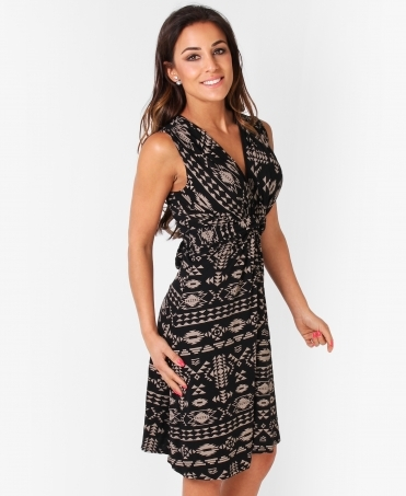 Aztec Print Knot Front Dress