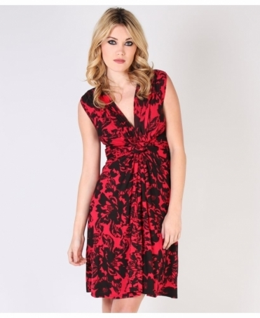 Bold Floral Print Knot Front Dress