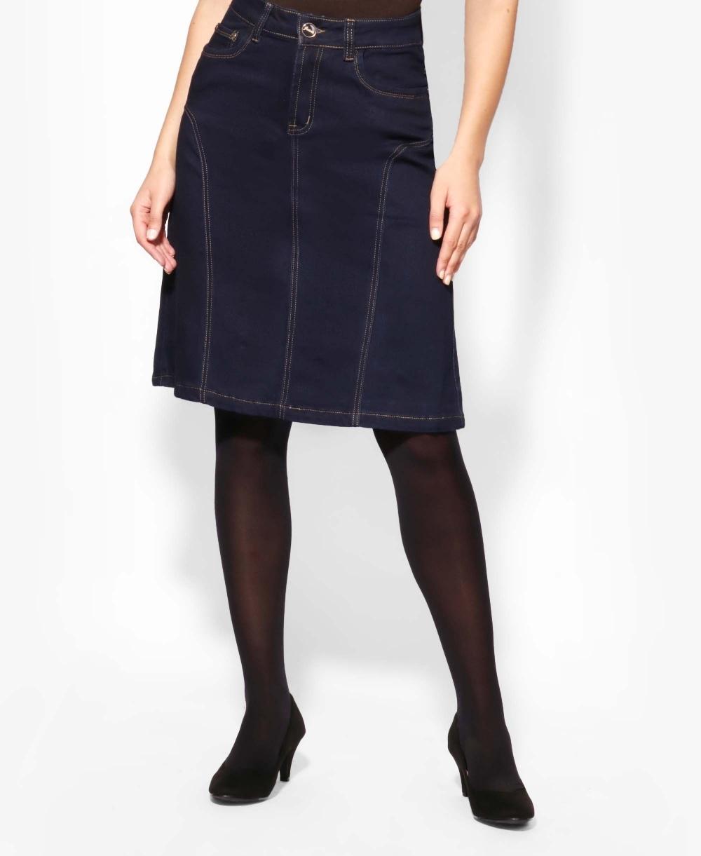 Contrast Stitch A-Line Plus Denim Skirt 09eb71e3ba8b