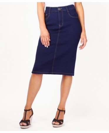 Contrast Stitch Pencil Denim Skirt