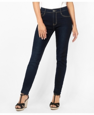 Creased Dark Denim Skinny Jeans