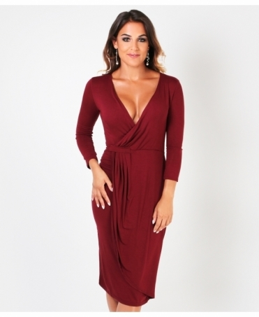 Cross Over Jersey Midi Dress