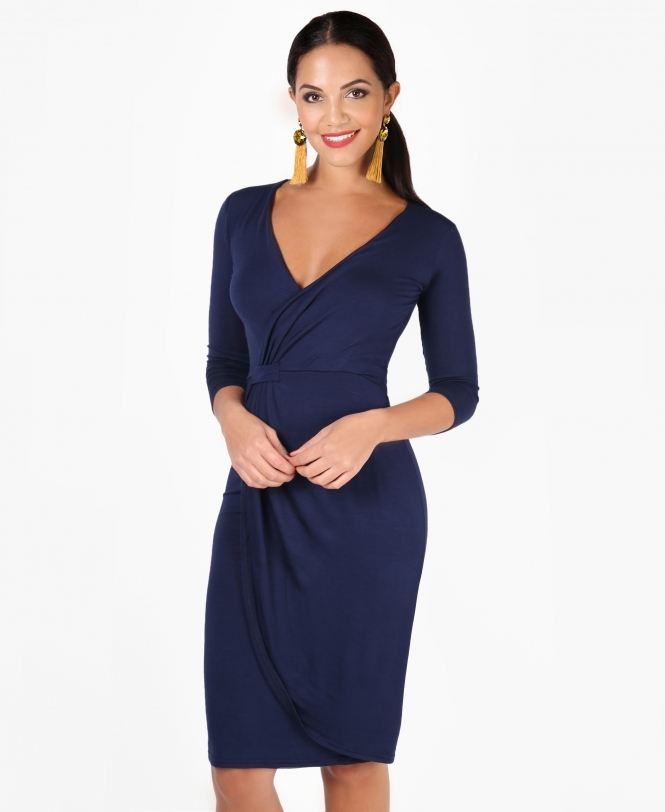 Krisp BASICS Cross Over Jersey Midi Dress