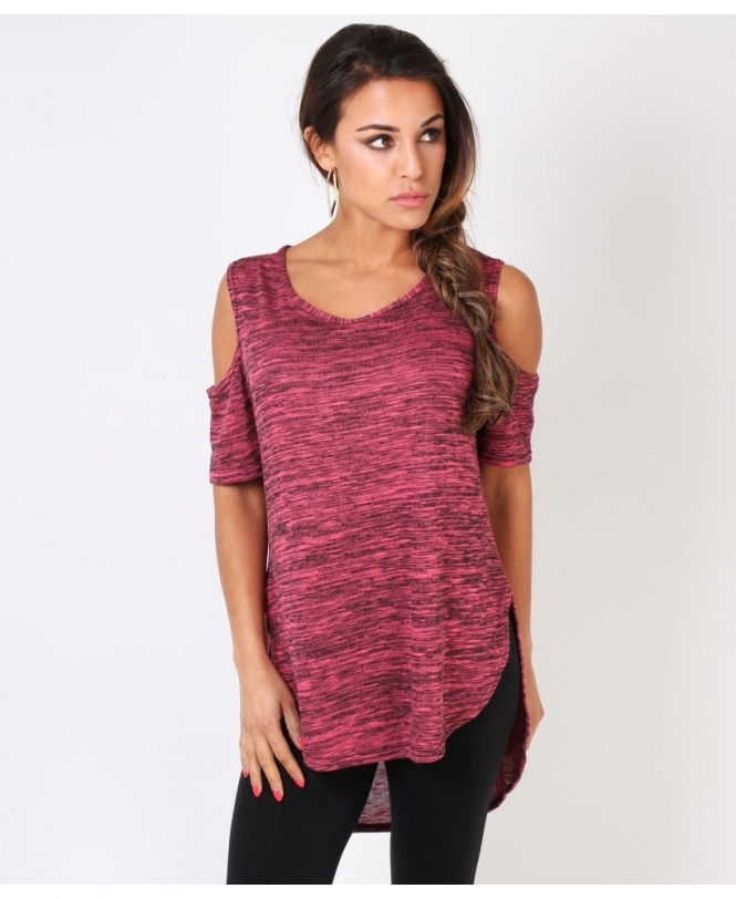 Krisp BASICS Cut-Out Sleeve Space Dye Top