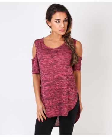 Cut-Out Sleeve Space Dye Top