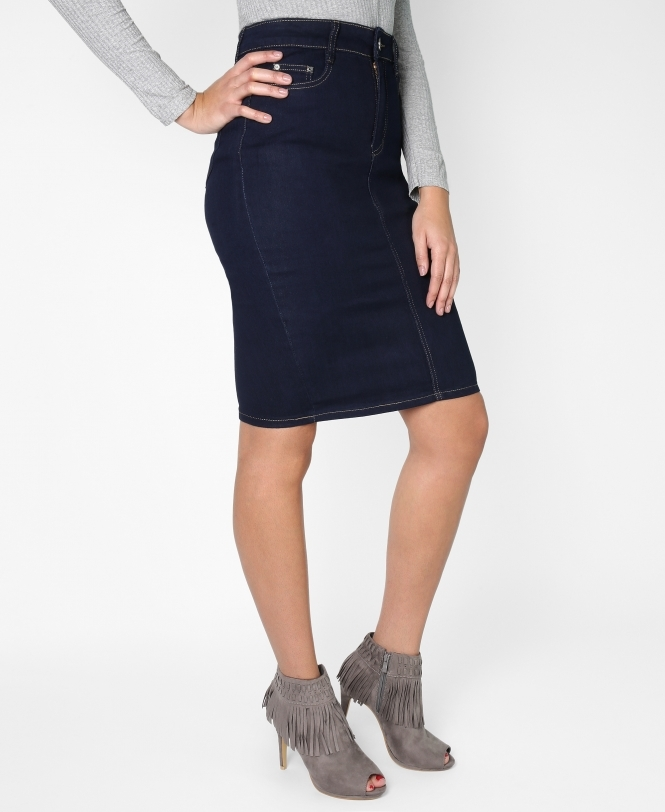 Krisp BASICS Diamante Pocket Pencil Plus Denim Skirt