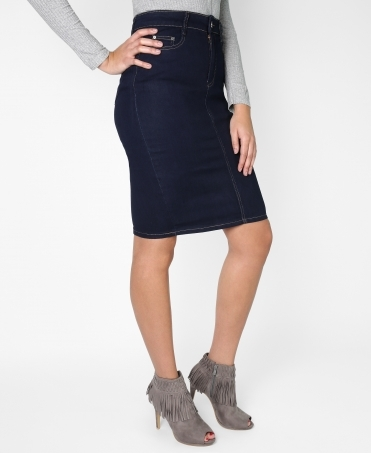 Diamante Pocket Pencil Plus Denim Skirt