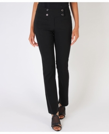 Four Buttoned Formal Bengaline Black Trousers