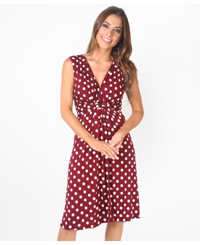 Krisp BASICS Knot Front Polka Dot Mini Dress