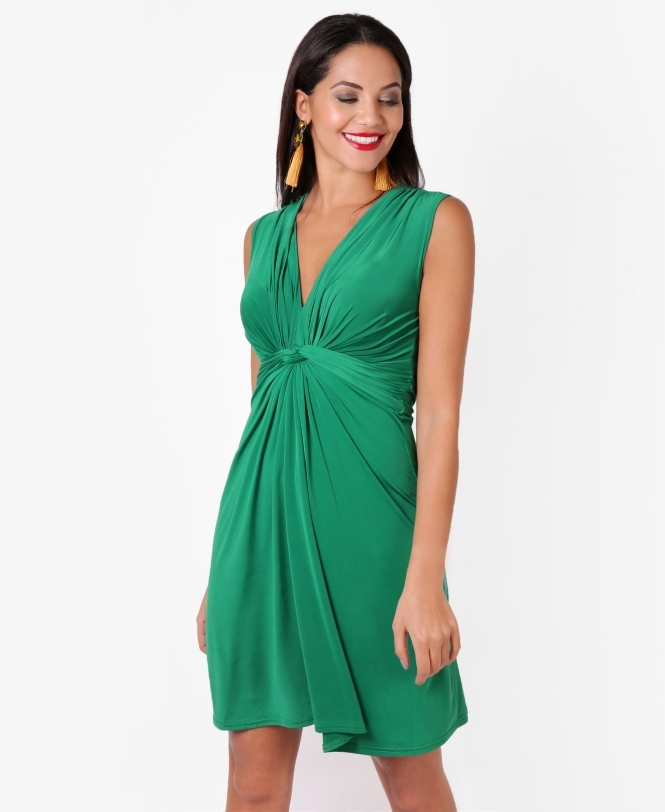 Krisp BASICS Knot Front Self Tie V Neck Dress