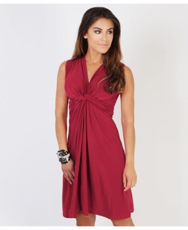 Knot Front Self Tie V Neck Dress