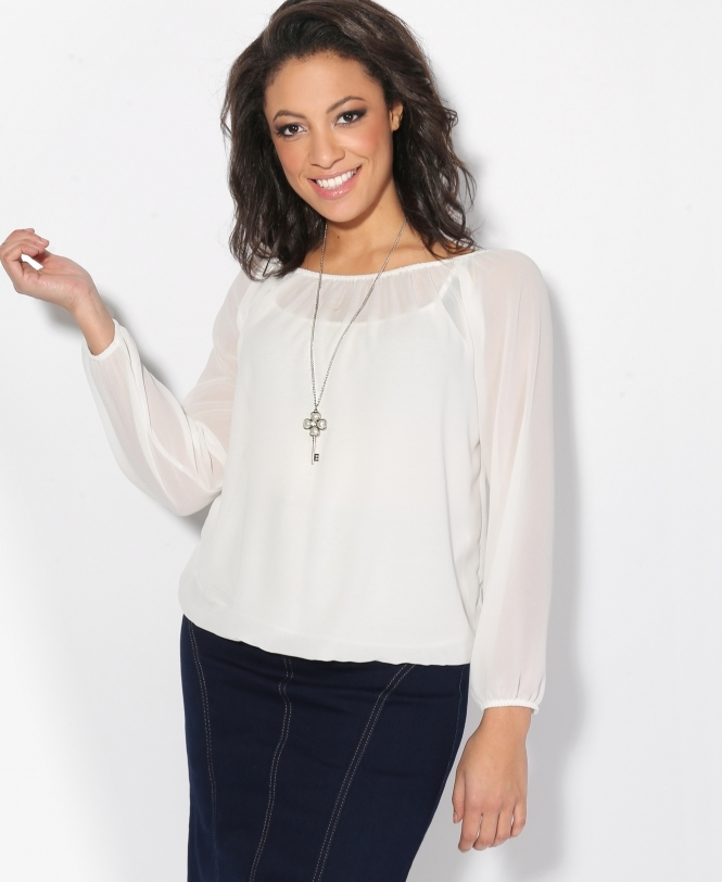 Krisp BASICS Off-Shoulder Neck Gypsy Blouse