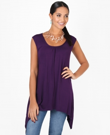 Pleated Hanky Hem Vest Top