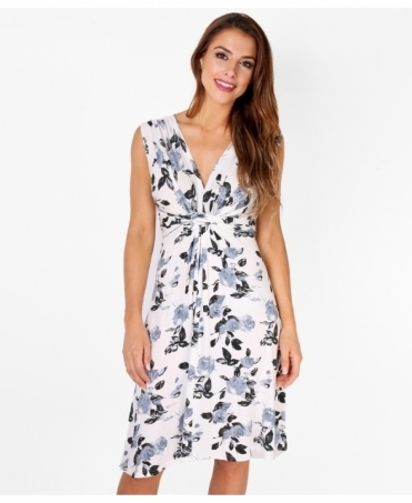 Rose Print Knot Front Dress