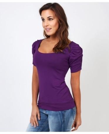 Ruched Short Sleeve Jersey Top