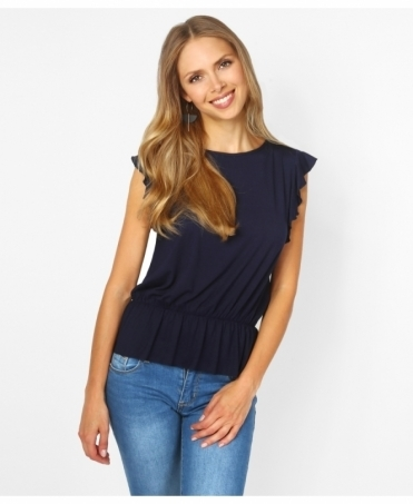 Ruffle Sleeve Shirred Jersey Top