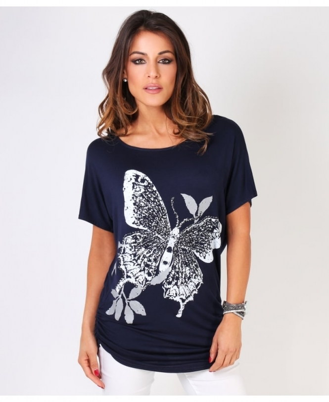Krisp BASICS Sequin Butterfly Print Oversized T-shirt