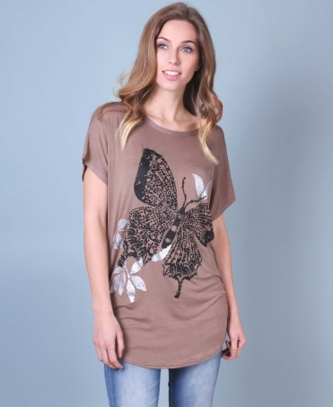 008f6bf6d Sequin Butterfly Print Oversized T-shirt