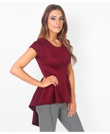 Short Sleeve Fishtail Peplum Top