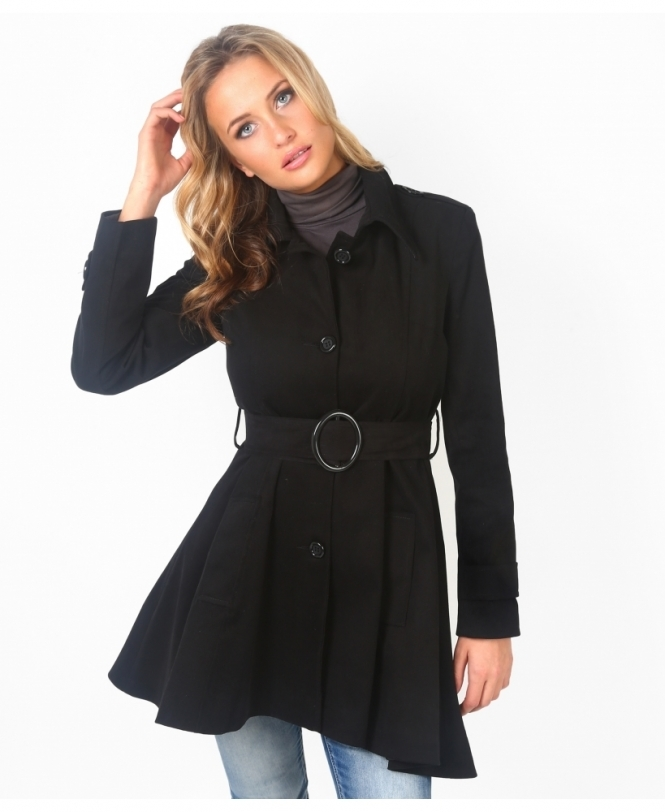 Krisp BASICS Single Breasted Flared Mac Coat
