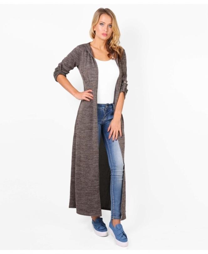 huge discount cef5e 282c1 Slit Side Long Hooded Cardigan