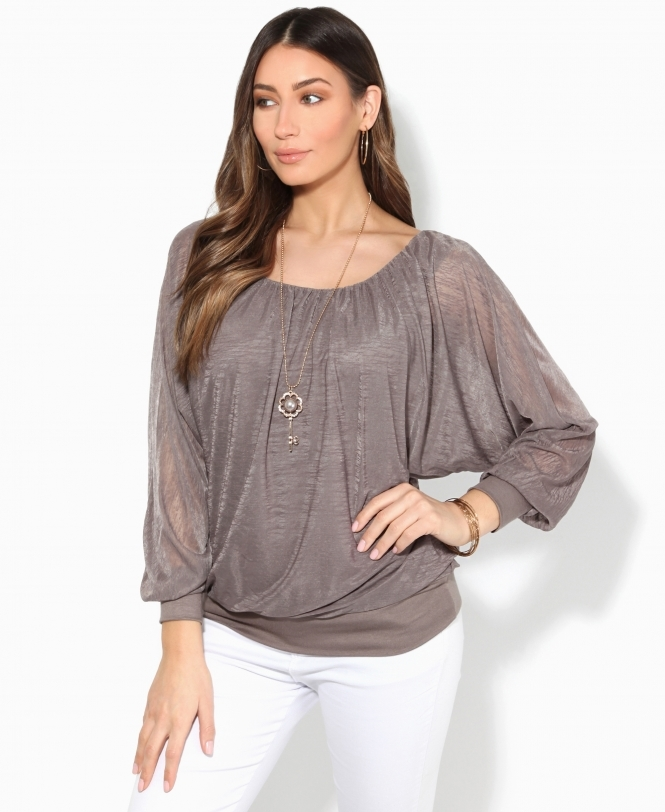 Krisp BASICS Slub Chiffon Batwing Top with Necklace