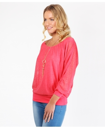 Slub Chiffon Batwing Top with Necklace