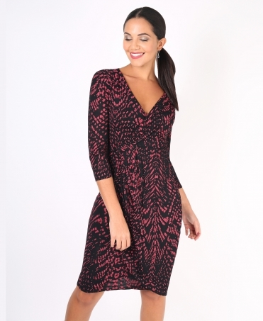 Snakeskin Print Cross Over Midi Dress