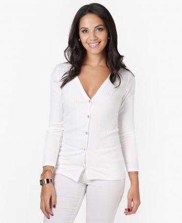 d0efba9212 Thin Ribbed Jersey Basic Cardigan · Krisp ...